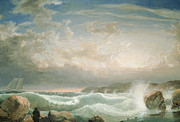 New England Seascape Posters - Rafes Chasm Gloucester   Massachusetts Poster by FH Lane