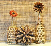 Browns Posters - Rafia Wrapped Bottles with Dried Flowers Poster by Marsha Heiken