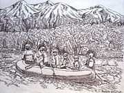 White Water Rafting Paintings - Rafting in Himalayas by Prasida Yerra