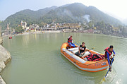 Haridwar Prints - Rafting in Rishikesh Print by Bhaswaran Bhattacharya