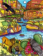 Canyon Drawings - Rafting the Grand Canyon by Judy Moon