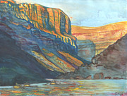 Kayaking Art Paintings - Rafts in Marble Canyon by Steve King