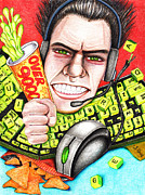 Caricature Drawings Posters - Rage Quit Poster by Shawna  Rowe