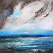 Storm Clouds Paintings - Raging Sea by Larry Martin