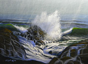 Crashing Waves Paintings - Raging Surf by Frank Wilson