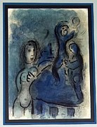 Bible Drawings Originals - Rahab and the Spies of Jericho by Marc Chagall