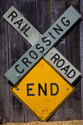 Signage Photo Posters - Rail Road Crossing End sign Poster by Garry Gay