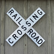 Road Prints - Rail Road Crossing Sign Print by Cathy Lindsey