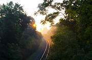 Rail Digital Art Prints - Rail Road Sunrise Print by Bill Cannon