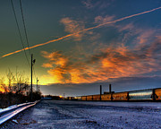 Tim Buisman Posters - Railroad at dawn Poster by Tim Buisman