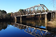 Train On Bridge Posters - Railroad Bridge On The River Poster by Charlie Day