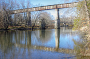 Zug Photos - Railroad Bridge Over Big Darby Creek 01 by J M L Patty