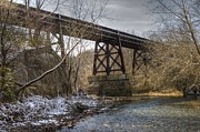 Kreuz Prints - Railroad Bridge Over Little Darby Creek 01 Print by J M L Patty