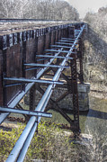 Zug Photos - Railroad Bridge Over Little Darby Creek 03 by J M L Patty