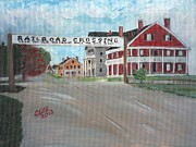 Haunted House Paintings - Railroad Crossing by Cliff Wilson