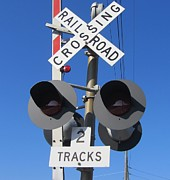 Crossing Photos - Railroad Crossing Lights by Cathy Lindsey