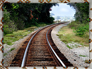 Passenger Mixed Media Prints - Railroad Tracks Print by Dennis Dugan