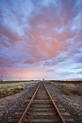 Colorado Travel Prints - Railroad Tracks Into the Sunset Print by James Bo Insogna