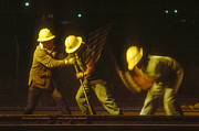 Strobe Art - Railroad Workers by Mark Greenberg