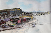 Industrial Pastels Prints - Railway Dreamers with San Francisco Skyline Print by Asha Carolyn Young