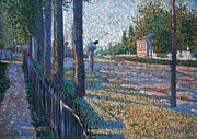 Paul Signac Framed Prints - Railway junction near Bois Colombes Framed Print by Paul Signac