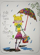 Shopping Drawings - Rain and shopping by Mary Kay De Jesus