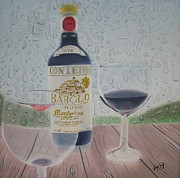 Wine Bottle Paintings - Rain and Wine by Angela Melendez