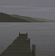 Waterscape Originals - Rain at the Lake by Val Arie