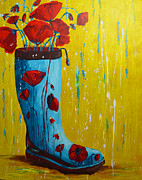 Shoe Painting Prints - Rain Boot Series Unusual Flower Pots Print by Patricia Awapara