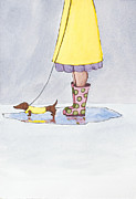 Dachshund Art Paintings - Rain Boots by Christy Beckwith