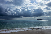 Beach Scenes Photos - Rain Clouds At Waimanalo by Leigh Anne Meeks