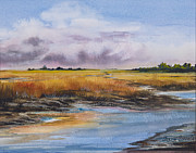 Marsh Scene Paintings - Rain Clouds by Sharon Sorrels
