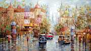 Crosswalk Painting Posters - Rain Poster by Dmitry Spiros
