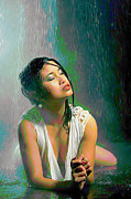 Print Digital Art Originals - Rain Down On Me by Byron Fli Walker