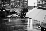 Rain Drop Posters - rain falling off a umbrella on a wet rainy day in downtown Vancouver BC Canada Poster by Joe Fox