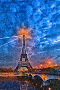 Rain Falling On The Eiffel Tower At Night In Paris Print by Mark E Tisdale