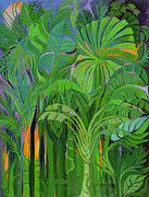 Vegetation Paintings - Rain Forest Malaysia by Laila Shawa