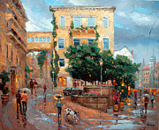 Overcast Day Painting Posters - Rain in Baden Baden Poster by Dmitry Spiros