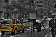 Selective Color Posters - Rain in Manhattan Poster by David Bearden