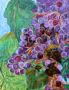 White Grape Mixed Media Prints - Rain in the Vineyard Print by Rhonda Chase