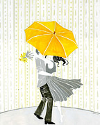 April Showers Posters - Rain Kiss Poster by Jeslyn Cantrell
