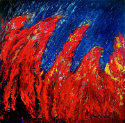 Adele Painting Metal Prints - Rain on Fire Metal Print by Ania M Milo