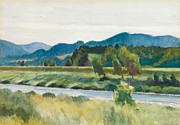 Vermont Landscapes Posters - Rain on River Poster by Edward Hopper