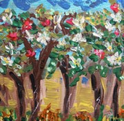 Primitive Raw Art Paintings - Rain on the Trees of Spring by Mary Carol Williams