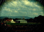 Sheds Digital Art Prints - Rain over Grantham Print by Therese Alcorn