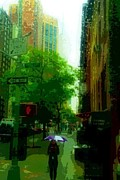 City Scene Drawings Metal Prints - Rain walk Metal Print by Julia Gatti