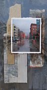 City Buildings Mixed Media Prints - Rain Water Street  Print by Anita Burgermeister