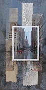 Reflections Mixed Media Originals - Rain Water Street w City Hall by Anita Burgermeister