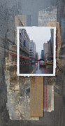 City Buildings Mixed Media Posters - Rain Wisconcin Ave tall view Poster by Anita Burgermeister