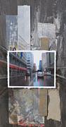 Grungy Mixed Media Posters - Rain Wisconsin Ave wide view Poster by Anita Burgermeister